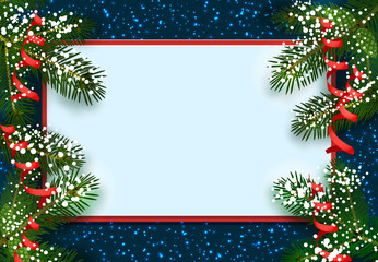 New Year. Christmas. Postcard, card. Green spruce branches in the snow from two sides. Place for advertising and announcements. Isolated illustration