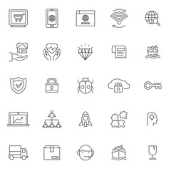 set of popular business or finance web icon, with black thin line and editable stroke, use for web and presentation pictogram asset , website,  marketing, ecommerce, startup, outline illustration.