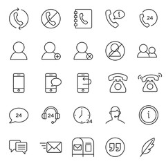 set of contact support icon collection, with simple black line and modern style use for web and application support button sign, editable stroke pictogram, communication, infographic, perfect pixel