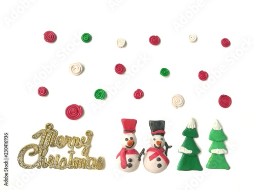 Cute Snowman Tree And Colorful Spiral Shaped Are Made From