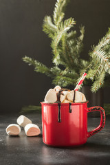 Papiers peints Chocolat Mug of hot chocolate and cacao with marshmallows with christmas tree branches on black board. Xmas holiday.