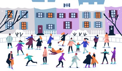 Crowd of tiny people dressed in winter clothes ice skating on rink. Men, women and children in seasonal outerwear on ice skates having fun outdoors. Colorful vector illustration in flat cartoon style.