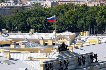 Russia. Saint-Petersburg. Roofs of the city, the Flag of the Russian Federation over the building of the constitutional court of Russia