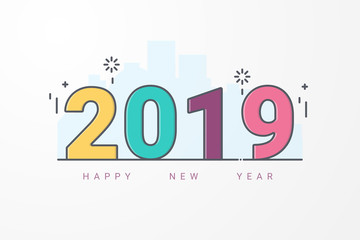 Happy new year 2019. Design  Greeting card or calendar cover template. line art style