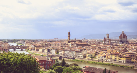 Tuinposter Florence Panoramic view of Florence from Michelangelo Square