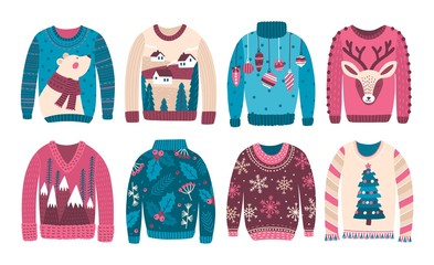 Bundle of ugly Christmas sweaters or jumpers isolated on white background. Collection of odd or strange seasonal woolen clothes with holiday prints and patterns. Flat cartoon vector illustration.