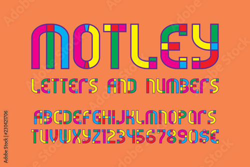 motley letters and numbers with currency signs colorful carnival