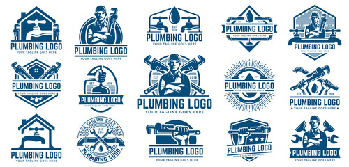 15 Plumbing logo template pack, with retro or vintage style.