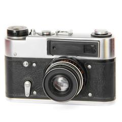 Old camera on white background