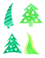 Collection of watercolor Christmas trees.
