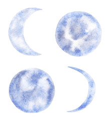 Collection of watercolor moons.
