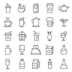 set of drinks glasses icon with modern style and flat concpet, editable stroke use for restarurant, caffee, and bar menu, web, application, outline, blak line