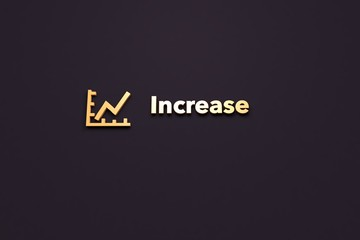 Text Increase with orange 3D illustration and dark background