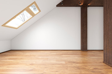 Attic loft open space empty interior with beams, windows, stairway, wooden floor. 3d render illustration mock up.