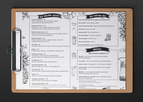 Beer and cocktail menu design