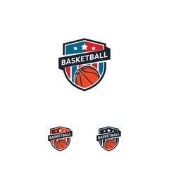 Basketball logo Badge designs, Basket emblem, vector templates