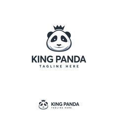 King Panda Logo designs concept vector, Cute Panda logo template