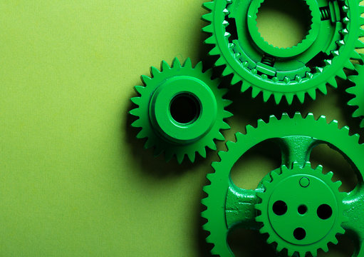 gears mechanism green bright technology  background