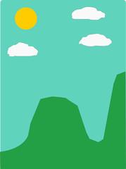 Photo sur Plexiglas Vert corail illustration of a landscape