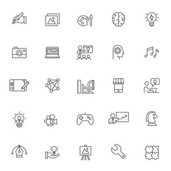 set of creativity icons with simple line concept, art, idea, vector eps 10