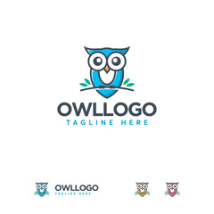 Cute Owl Bird Logo mascoot, Owl Bird Perching logo designs vector, Education logo Symbol template