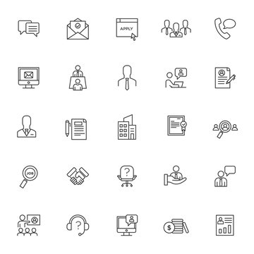 set of interview test icons with simple line concept, hiring, job seeker, vector eps 10