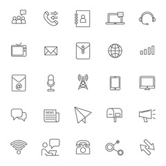 set of telecommunication technology realated icon with simple out line and editable stroke