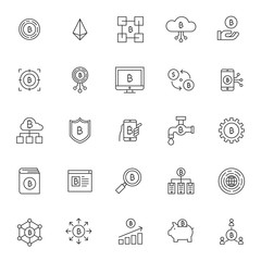 Basic RGBset of bitcoin technology system icons with simple thin line concept and editable stroke