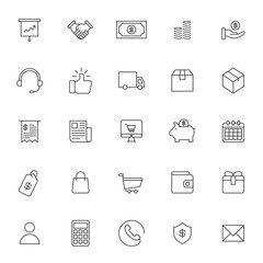 set of e commerce business technology icon with simple style and editable stroke, vector eps 10