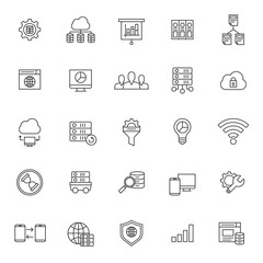set of big data technology icon with simple style and editable stroke, database vector eps 10