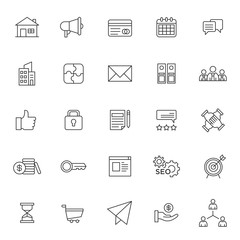 set of business management thin line icon with modern style and simple outline, editable stroke vector eps 10