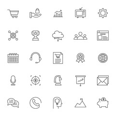 set of business marketing thin line icon with modern style and simple outline, editable stroke vector eps 10
