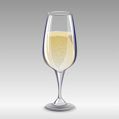 Glass of champagne. Vector illustration.