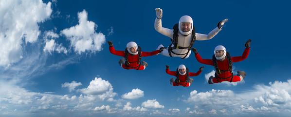 4 Skydiver Rot Weiß CG Render