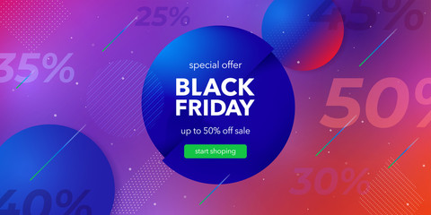 Black friday sale. Liquid color background design. Fluid gradient shapes composition. Social media web banner for shopping, sale, product promotion. Colored vector illustration in neon colors.