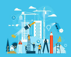 Building site and people working together sharing the knowledge, helping and supporting different area of businesses.
