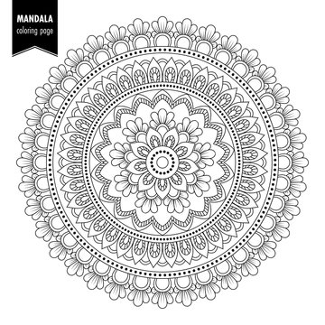 Monochrome ethnic mandala design. Anti-stress coloring page for adults. Hand drawn illustration