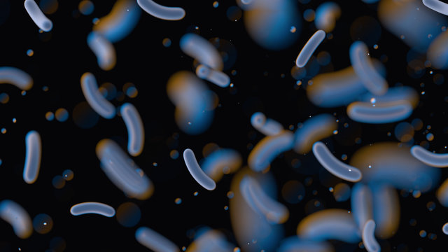 Bacteria under the microscope. Escherichia. E. coli. Black background with blurred particles. Close up. 3D rendering