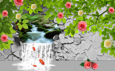 3d illustration, the waterfall falls through a broken concrete wall, yellow and pink roses grow on the branches.