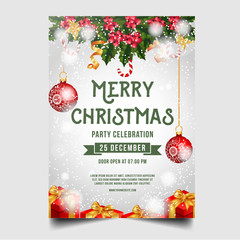 Christmas Merry Brochure with Christmas ornaments and jingle bell
