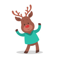 Cute christmas brown reindeer. Animal with red nose