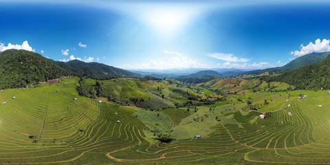 Aerial View Terrace Rice Field Landscape Of Mae Chaem, Chiang Mai, Thailand (Full VR 360 Degree Panorama Seamless)