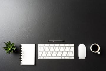 Elegant office desktop. Top view