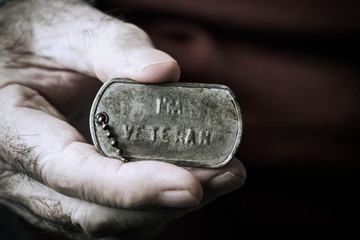 text I am veteran in a dog tag