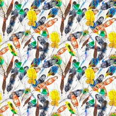 Watercolor seamless pattern. Hand painted texture with various multicolor bird feathers.