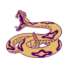 Rattlesnake hand drawn vector illustration. Good for posters, stickers, card, print and other.