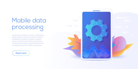 Mobile data processing technology in isometric vector illustration. Information storage and analysis system. Digital technology website landing page template.