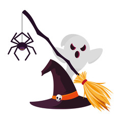 halloween witch broom icon