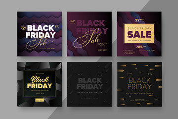 Black Friday modern promotion square web banner for social media mobile apps. Elegant sale and discount promo backgrounds with abstract pattern. Email ad newsletter layouts.