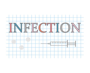 infection word on checkered paper sheet- vector illustration